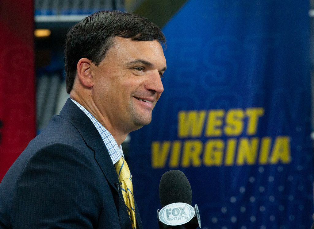 West Virginia University head football coach Neal Brown speaks with Fox Sports during the Big 12 Conference Media Days event at the AT&T Stadium in Arlington, Texas, Tuesday, July 16, 2019. (Lynda M. Gonzalez/The Dallas Morning News)