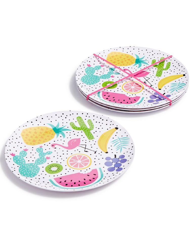 Celebrate printed melamine four-piece plate set, $25, Macy's