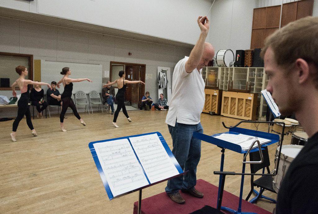 Jon D. Lee conducts the Meadows Percussion Ensemble as Dallas Neo-Classical Ballet dancers rehearse.