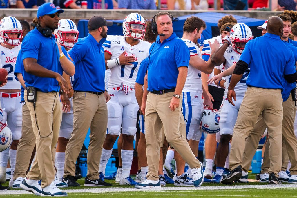 SMU head coach Sonny Dykes paces the sidelines during the first half of an NCAA football game against UNT at Ford Stadium on Saturday, Sept. 7, 2019, in Dallas.