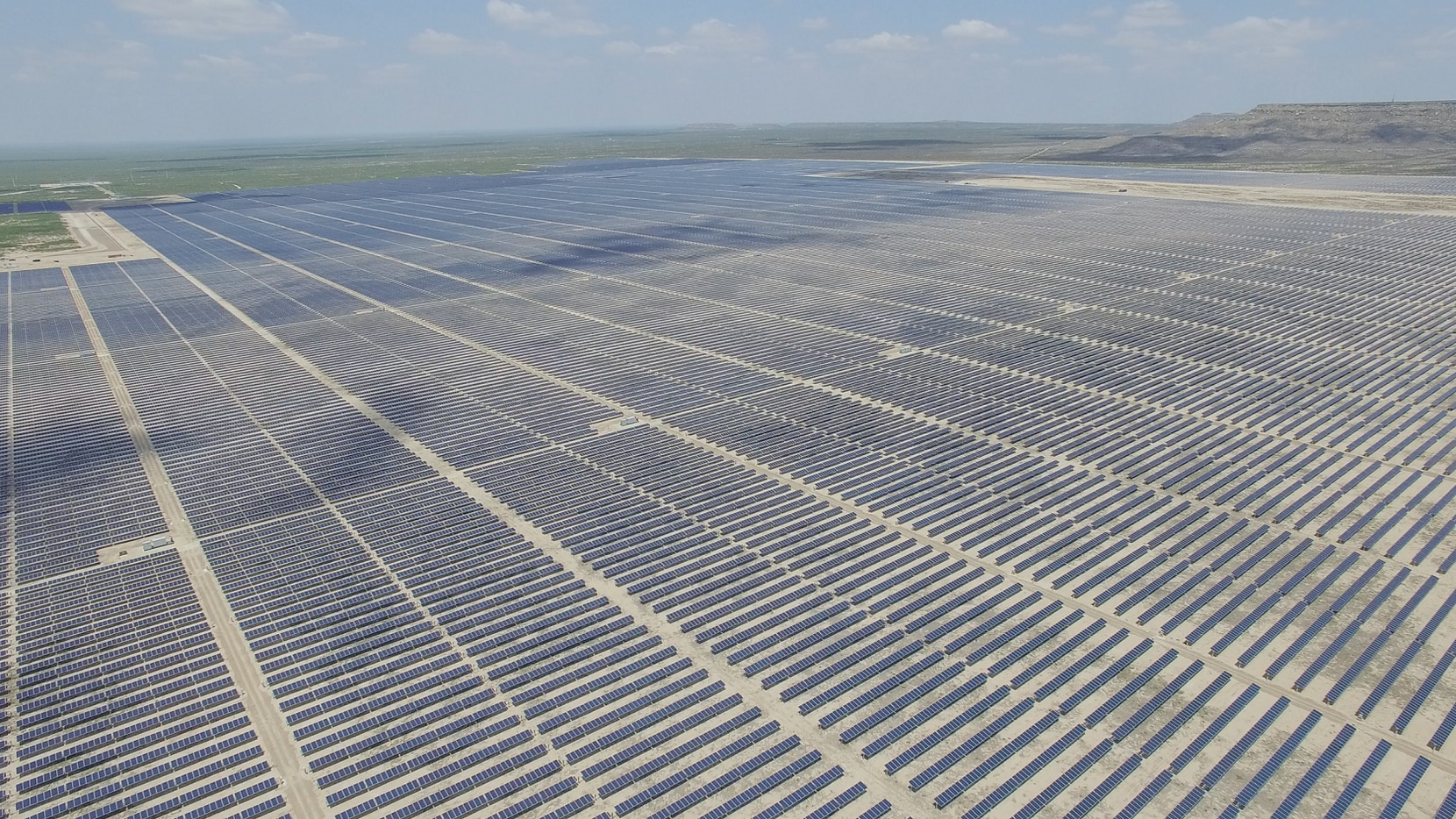 Luminant's Upton 2 solar plant near the West Texas town of McCamey in Upton County. The company received a $1 million state grant to help build a 10 megawatt battery at Upton 2. That will help boost production at the solar plant.