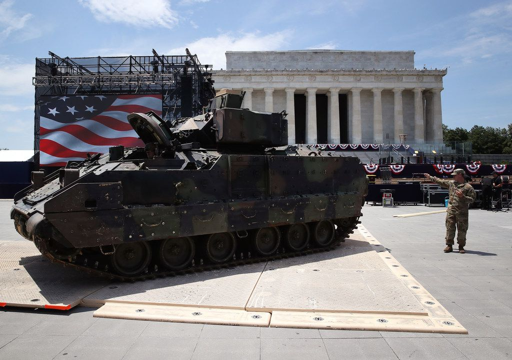 "Members of the U.S. Army park an M1 Abrams tank in front of the Lincoln Memorial  ahead of the Fourth of July ""Salute to America"" celebration on July 3 in Washington, D.C."