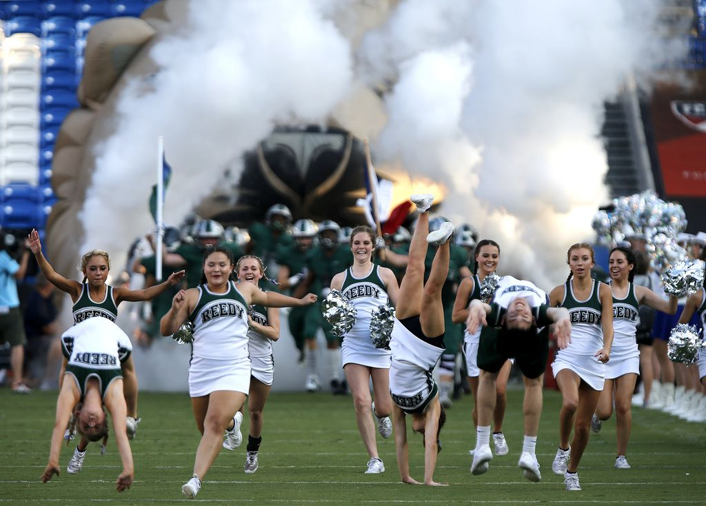 Reedy High School takes the field before kick off as they hosted Plano West High School in a non-district football game at Toyota Stadium in Frisco on Thursday, August 28, 2019. (Stewart F. House/Special Contributor)