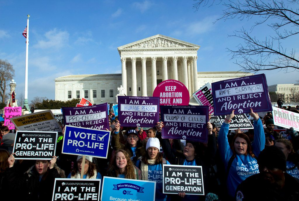 Anti-abortion activists protest outside of the U.S. Supreme Court, during the March for Life in Washington on Jan. 18, 2019.