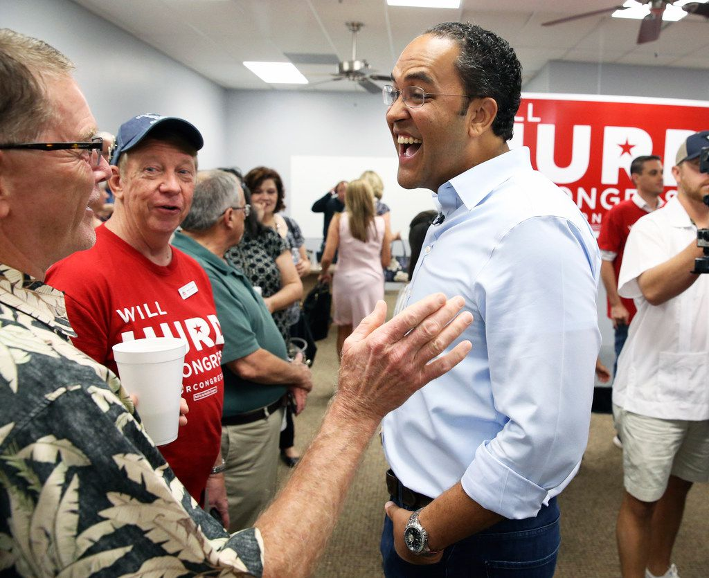 U.S. Congressman Will Hurd greets supporters at his northside headquarters on August 4, 2018. He is facing Democratic nominee Gina Ortiz Jones for Texas' U.S. congressional District 23 in the general election.