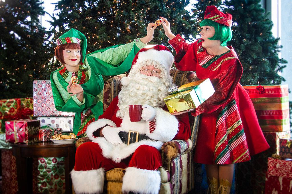 "Emily J Pace, James Chandler, Laura Wetsel (Jangle, Santa, Jingle) in""  Twas the Night Before Christmas: A Holiday Musical and Parody Spectacular"" by Casa Manana Theatre in Fort Worth."