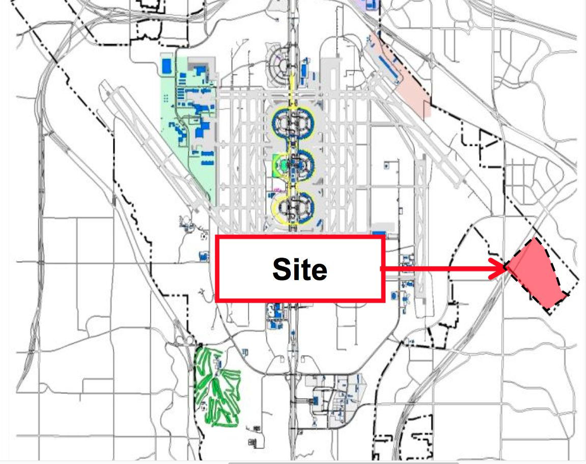 The Perot Development site is on the east side of DFW Airport on State Highway 161.