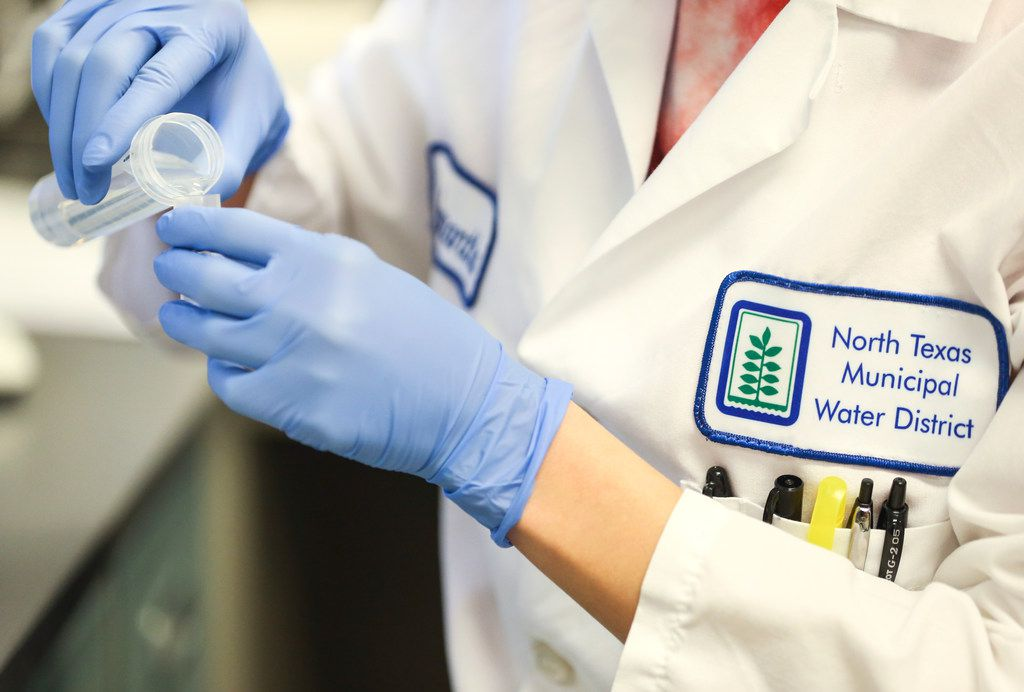 Senior Lab Technician Samantha Murray tests water samples with a spectrometer at the North Texas Municipal Water District lab in Wylie, where water samples are tested.
