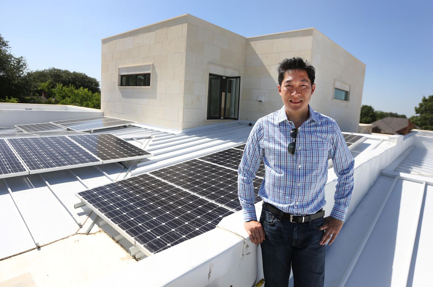 A look at the solar panels on the roof of the New Modern Home, a prototype house that builder Jimmy Tanghongs has built, which needs no exterior maintenance and produces its own electricity.