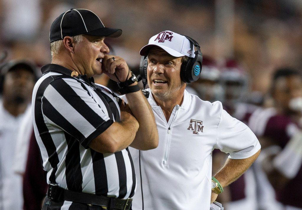 Texas A&M head coach Jimbo Fisher argues a call with an official during the second half of an NCAA college football game against Louisiana Monroe Saturday, Sept. 15, 2018, in College Station, Texas. (AP Photo/Sam Craft)