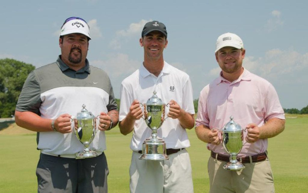 Brax McCarthy (center) of Fort Worth shot 18-under 262 and won the Veritex Bank Texas State Open at Trinity Forest Golf Club in Dallas by eight shots.  Ben Kern (left), head pro at Oeste Ranch Golf Course in Weatherford, claimed Low PGA Professional honors with a 3-under 277. Texas A&M senior Andrew Paysse (right) of Temple finished fourth at 8-under 272 and was the low amateur.