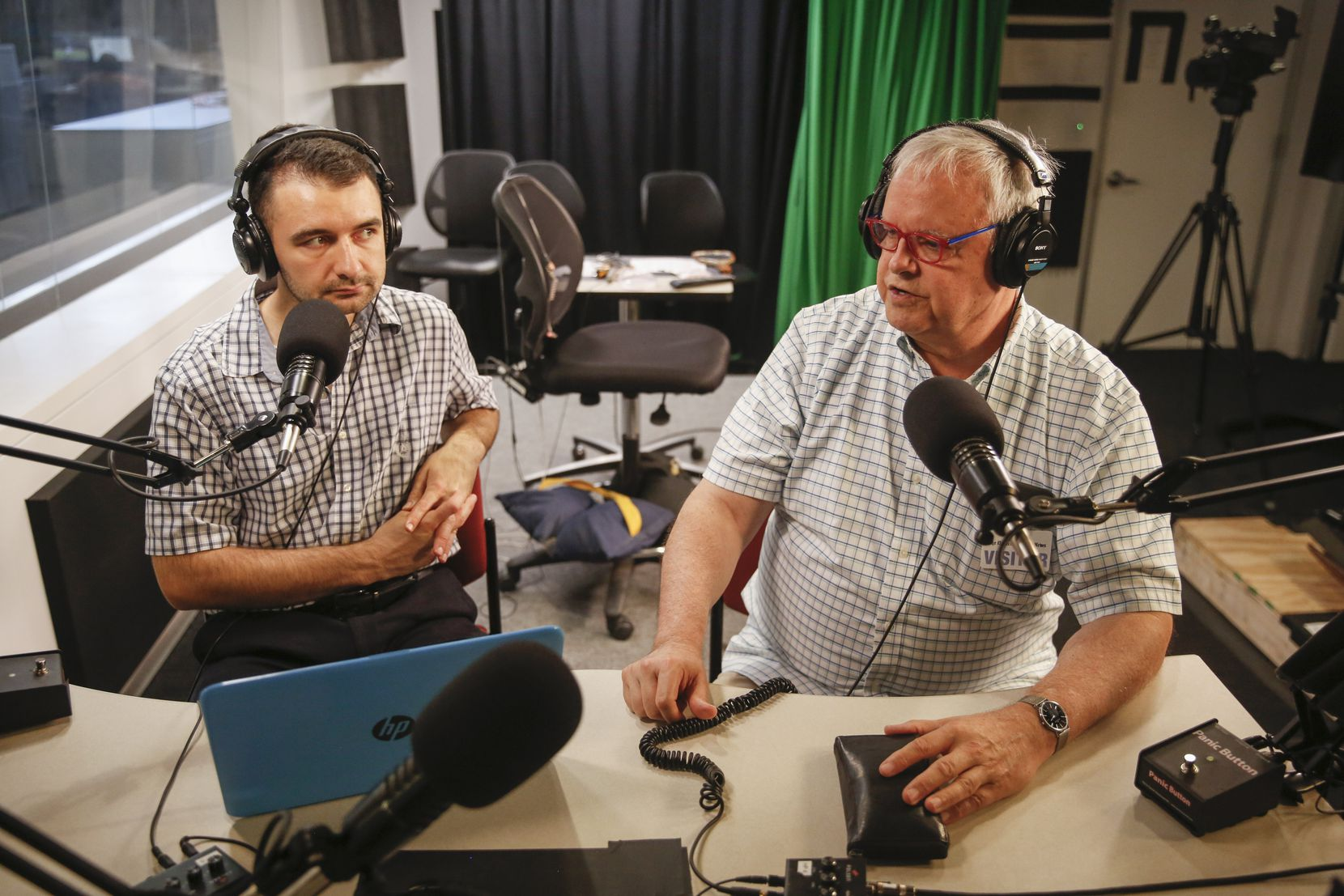 Tim Diovanni, left, interviews critic Scott Cantrell in 2019 for the classical music podcast project 'How to Listen' at The Dallas Morning News studio.