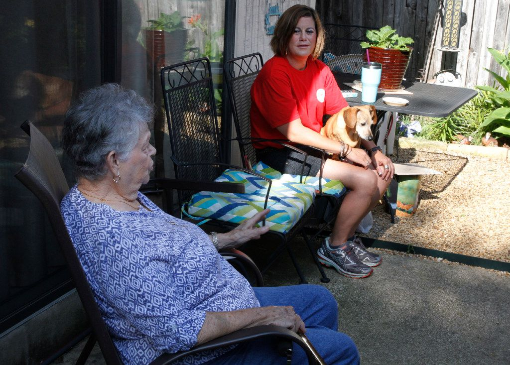 Sarah Kinerd visits with her granddaughter, Andrea Gillette, 35, in Garland, Texas, on Wednesday, May 31, 2017.  Andrea lives with her grandmother while she works at Fish City Grill and goes to college.