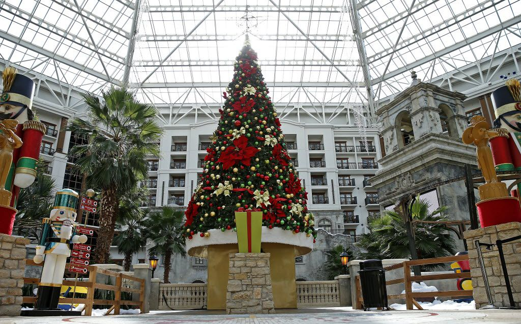A giant Christmas tree stands in the lobby of the Gaylord Texan as part of the Lone Star Christmas display.