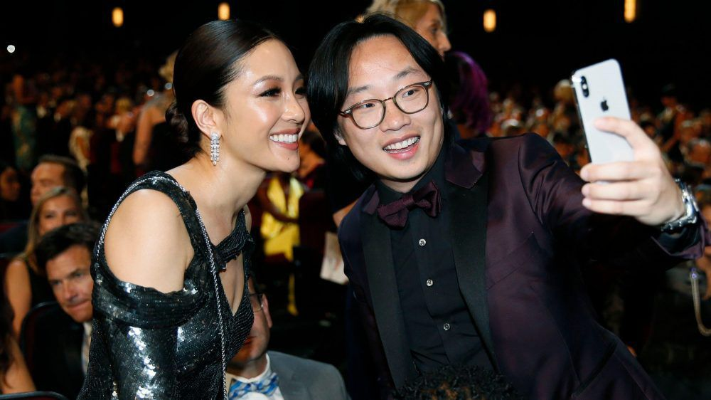 Constance Wu and Jimmy O. Yang, shown at the Emmy Awards, are encouraging all Asian-Americans to vote.