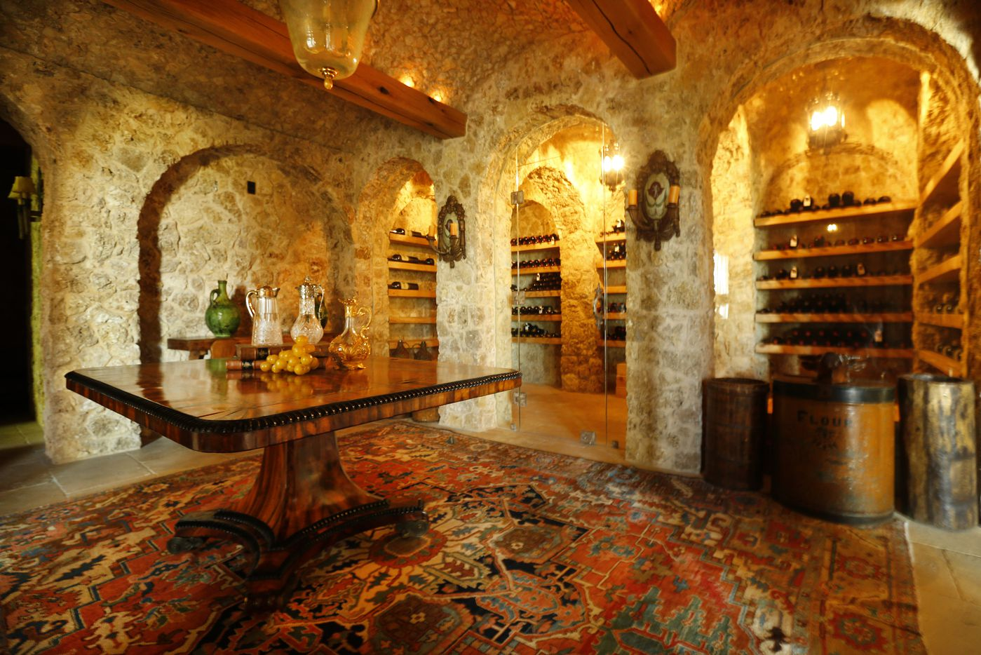 The wine cellar is in the basement of  the 12,000-square-foot lake house.