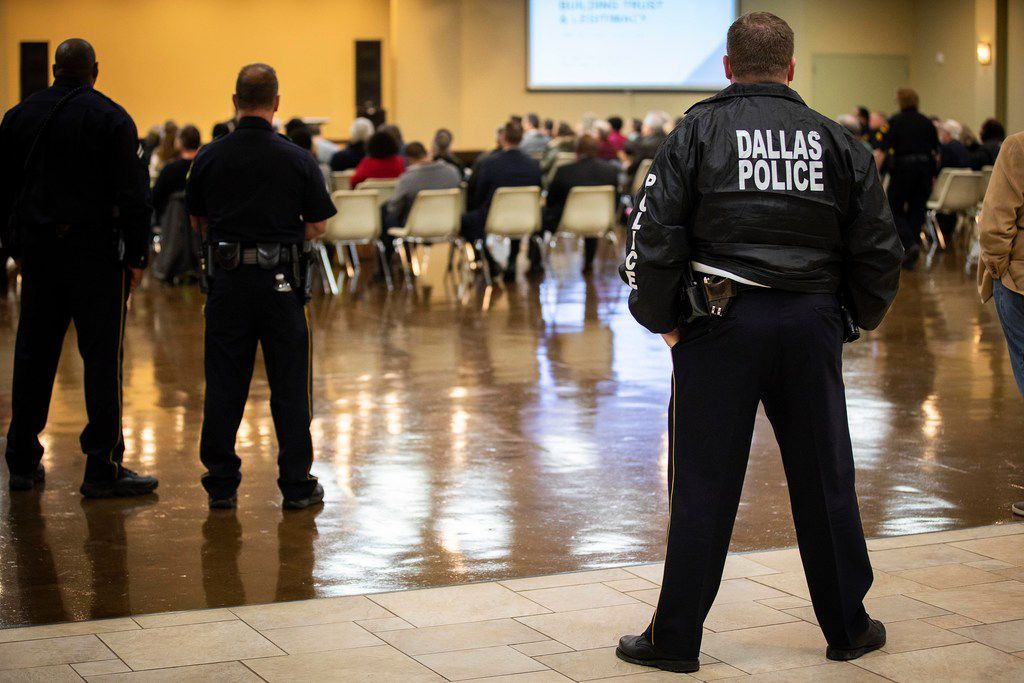 Dallas Police listened to speakers during a Citizens Police Review Board town hall meeting at Highland Oaks Church of Christ on Thursday, Jan. 3, 2019, in Dallas. (Smiley N. Pool/The Dallas Morning News)