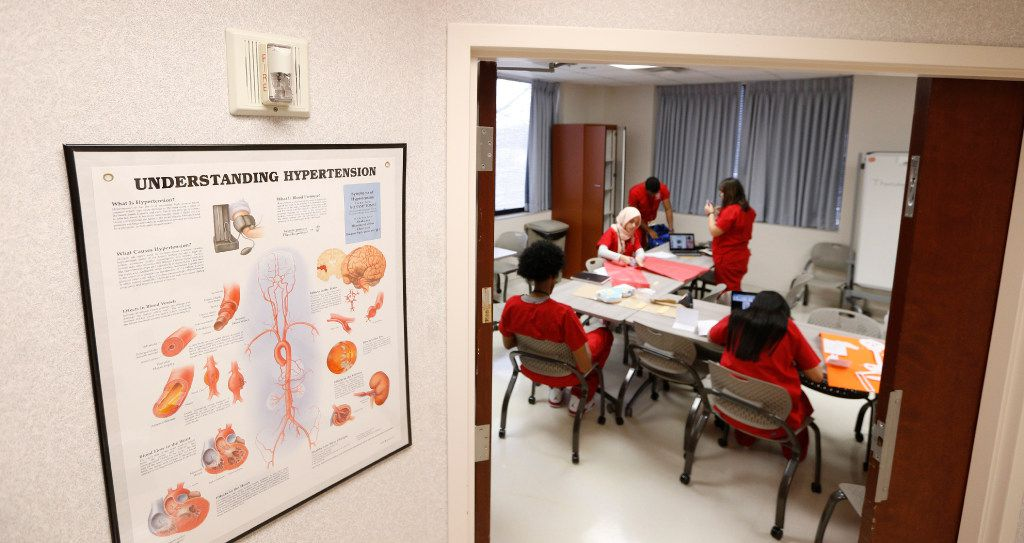 Students work on making displays of human anatomy during the RISD Health Science program at Methodist Richardson Campus for Continuing Care in Richardson, Texas on January 5, 2017.  (Nathan Hunsinger/The Dallas Morning News)