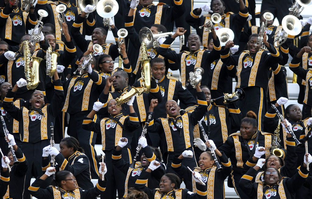 Members of the Grambling State University World Famed Tiger Marching Band perform before the start of the annual State Fair Classic football game between Prairie View A&M and Grambling State University on Sept. 25, 2010. Grambling State University won over Prairie View A&M 34-17.  (Brendan Sullivan/The Dallas Morning News)
