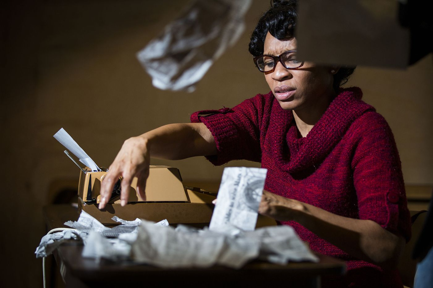 Kenneisha Thompson, who plays Willie Pearl Mackey, during a  rehearsal for the play The 67th Book of the Bible.