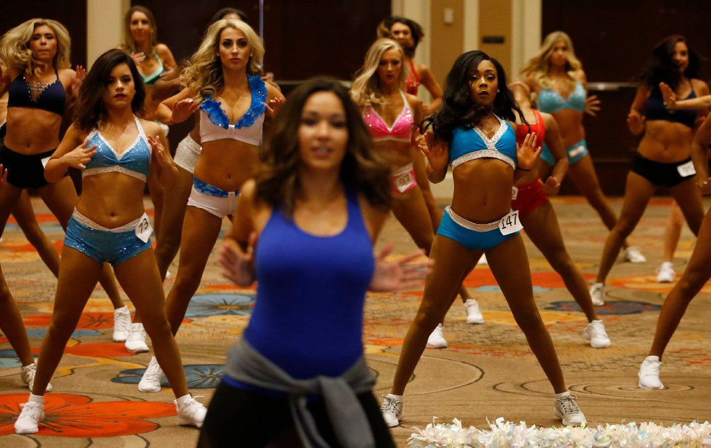 Dancers learn a routine taught by Elise Barrett (foreground) during Dallas Mavericks Dancers auditions at the Hilton Anatole in Dallas on Saturday, July 15, 2017.