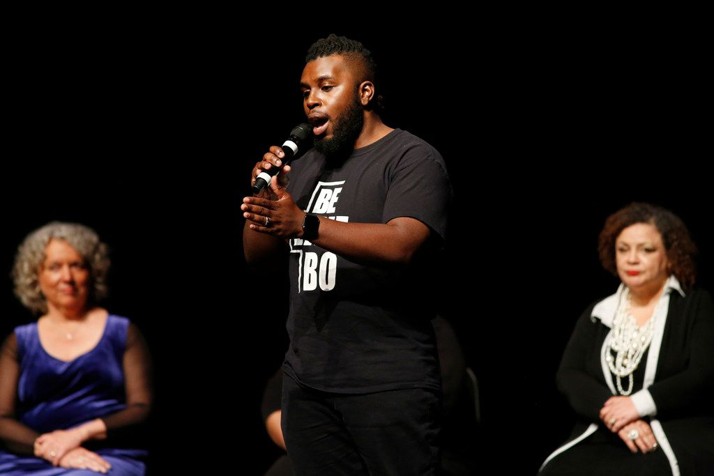 """Jeremy Bonner answers questions from the audience during the """"Freedman's Town to Botham Jean: Stories for Racial Healing"""" event, part of the Oral Fixation series, at Moody Performance Hall in Dallas."""