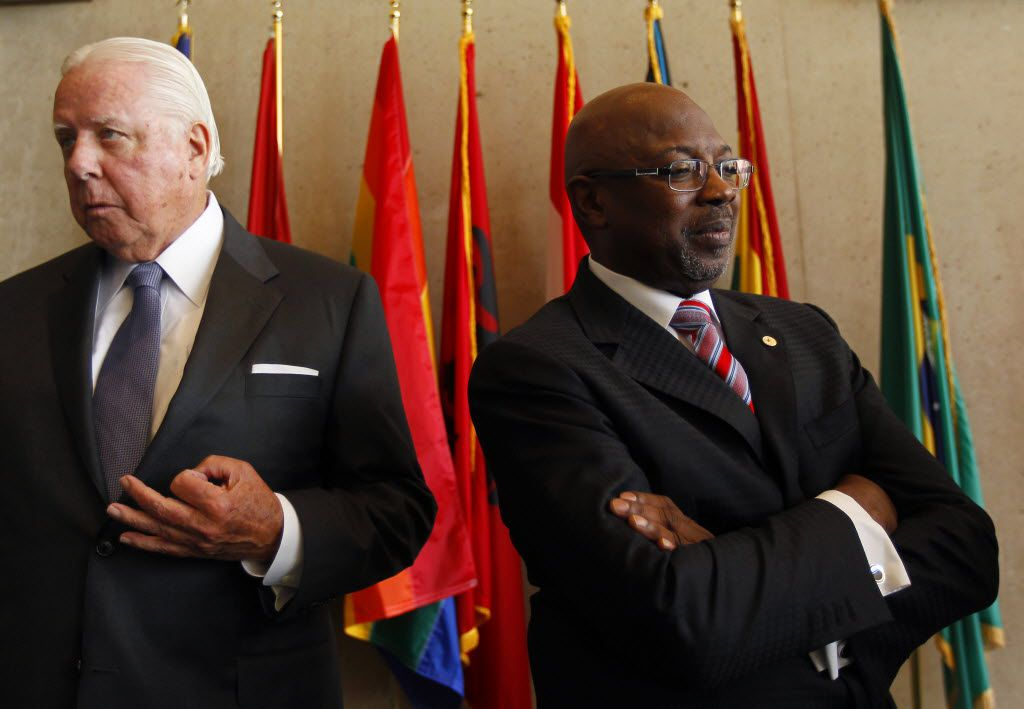 Darrell Jordan, left, served as Dallas City Council member Tennell Atkins' attorney during the council member's tenure on the Dallas Police and Fire Pension Fund board.