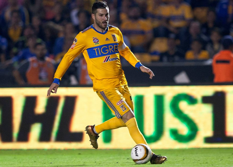 Andre-Pierre Gignac of Tigres controls the ball during their semifinal Mexican Apertura 2017 tournament football match against America at the Universitario stadium in Monterrey on Dec. 2, 2017.