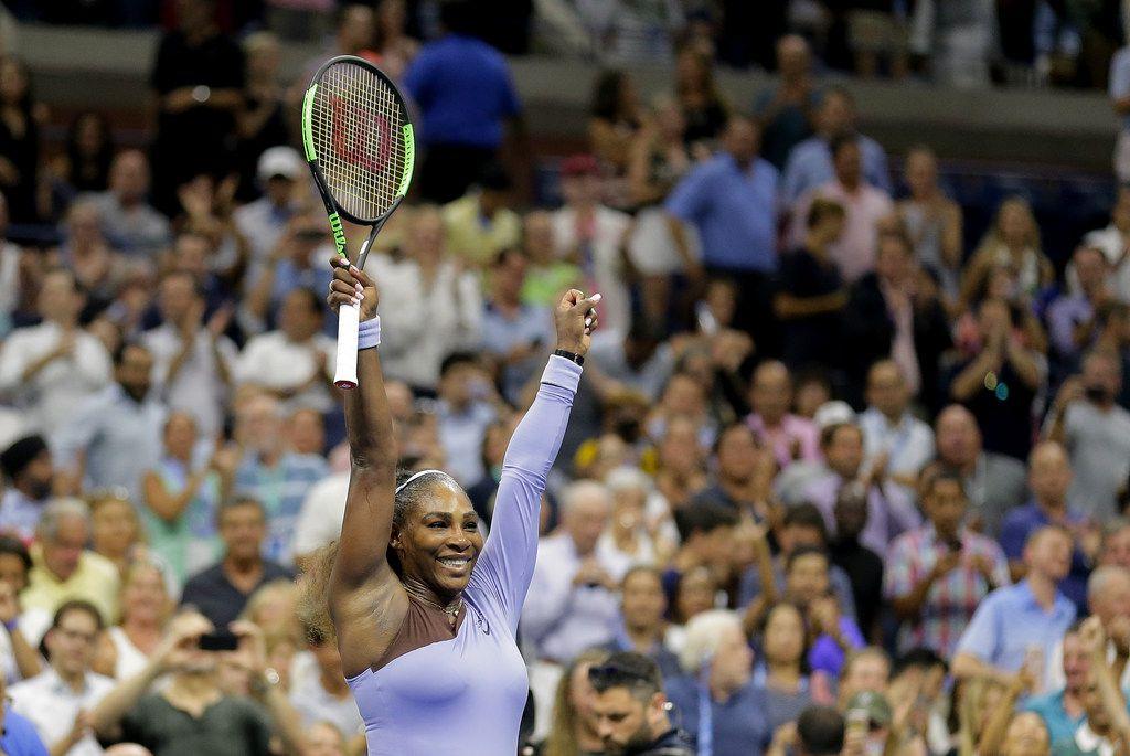 Serena Williams celebrates after defeating Anastasija Sevastova, of Latvia, during the semifinals of the U.S. Open tennis tournament on Sept. 6, 2018, in New York. (AP Photo/Seth Wenig)