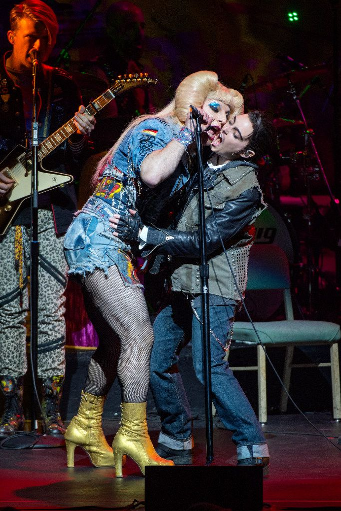 Euan Morton stars as Hedwig and Hannah Corneau stars as Yitzhak, Hedwig's beaten-down husband and assistant, in  Hedwig and the Angry Inch,  which continues through Feb. 12 at the Winspear Opera House.