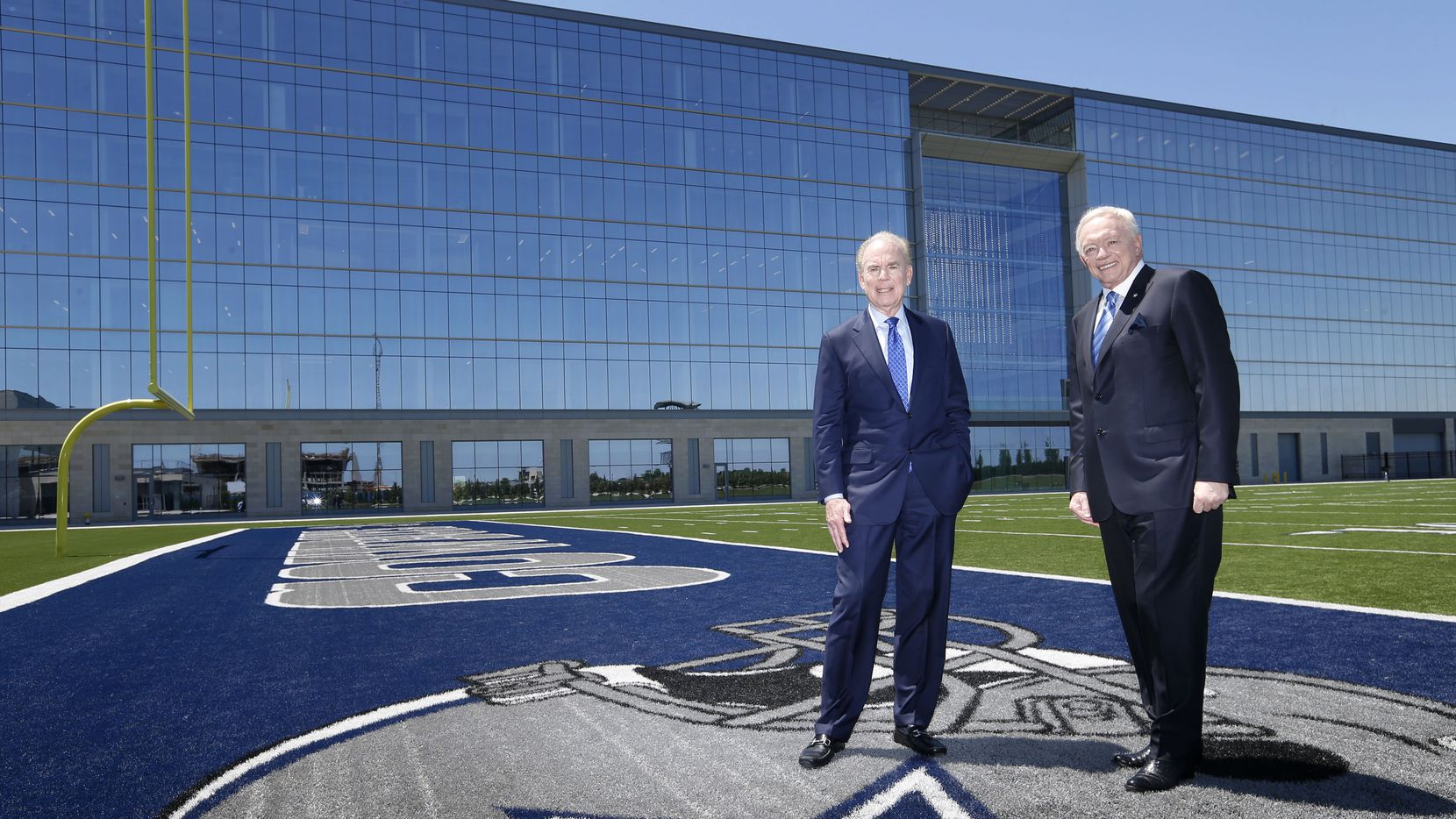 Former Dallas Cowboys quarterback Roger Staubach and Dallas Cowboys owner and general manager Jerry Jones pose for a portrait at The Star in Frisco. Staubach and Jones are working together to build a high-rise apartment building at The Star.