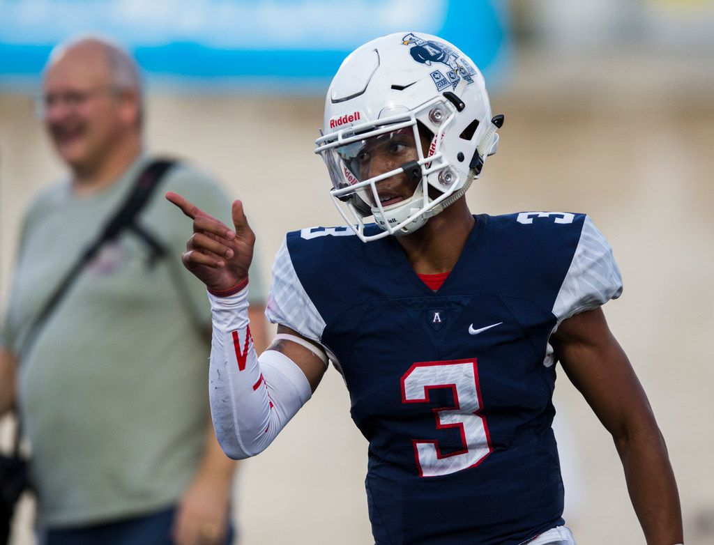 Allen quarterback Raylen Sharpe (3) celebrates after running the ball to the end zone for a touchdown during the first quarter of a high school football game between Allen and Cedar Hill on Friday, August 30, 2019 at Eagle Stadium in Allen. (Ashley Landis/The Dallas Morning News)