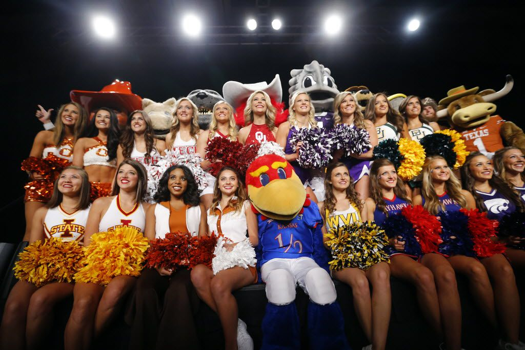 Big XII mascots and cheerleaders pose for a group photo during the Big 12 Conference Football Media Days at the Omni Dallas Hotel, July 19, 2016. (Tom Fox/The Dallas Morning News)