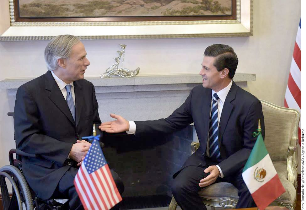 Texas Gov. Greg Abbott and Mexican President Enrique Peña Nieto exchanged pleasantries and gifts Tuesday at Los Pinos, the presidential mansion.