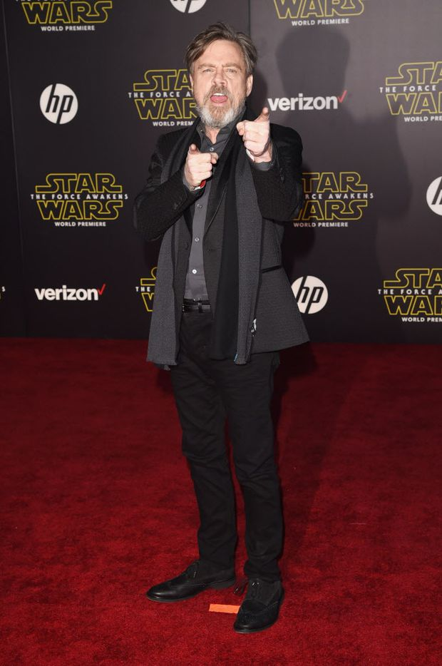 """HOLLYWOOD, CA - DECEMBER 14:  Actor Mark Hamill attends Premiere of Walt Disney Pictures and Lucasfilm's """"Star Wars: The Force Awakens"""" on December 14, 2015 in Hollywood, California."""