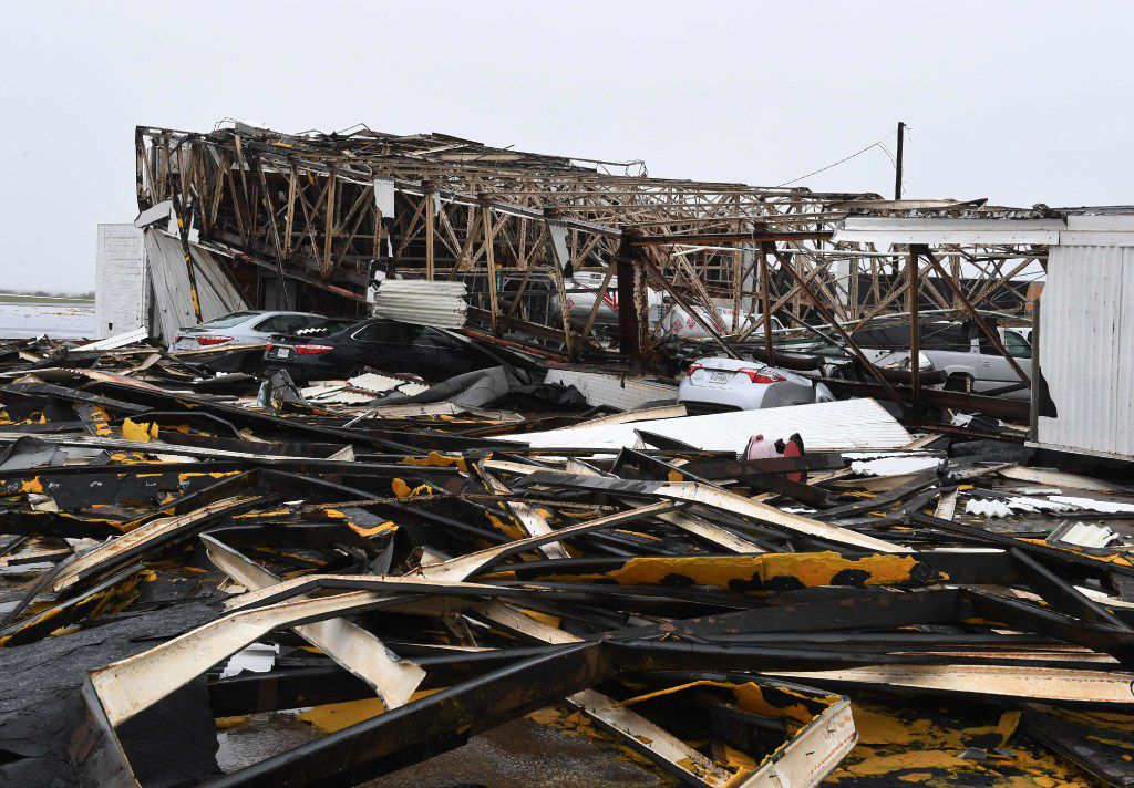 A destroyed building at Rockport Airport after heavy damage when Hurricane Harvey hit Rockport, Texas on August 26, 2017.   Hurricane Harvey left a trail of devastation Saturday after the most powerful storm to hit the US mainland in over a decade slammed into Texas, destroying homes, severing power supplies and forcing tens of thousands of residents to flee.