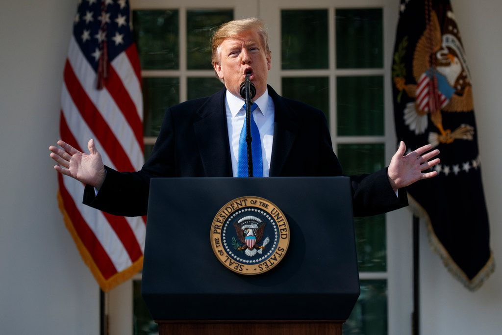President Donald Trump speaks during an event in the Rose Garden at the White House to declare a national emergency in order to build a wall along the southern border on Friday.