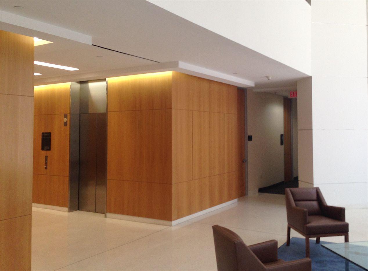 One of the renovated lobbies in the Crossings buildings.