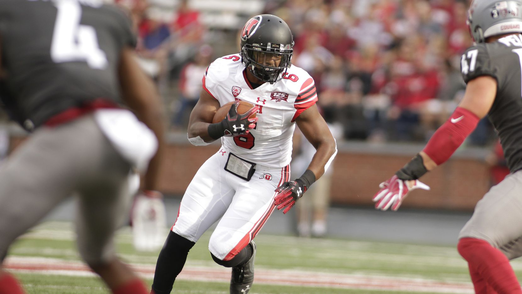 FILE - Utah running back Armand Shyne (6) runs with the ball during the first half of an NCAA college football game against Washington State in Pullman, Wash., Saturday, Sept. 29, 2018. (AP Photo/Young Kwak)