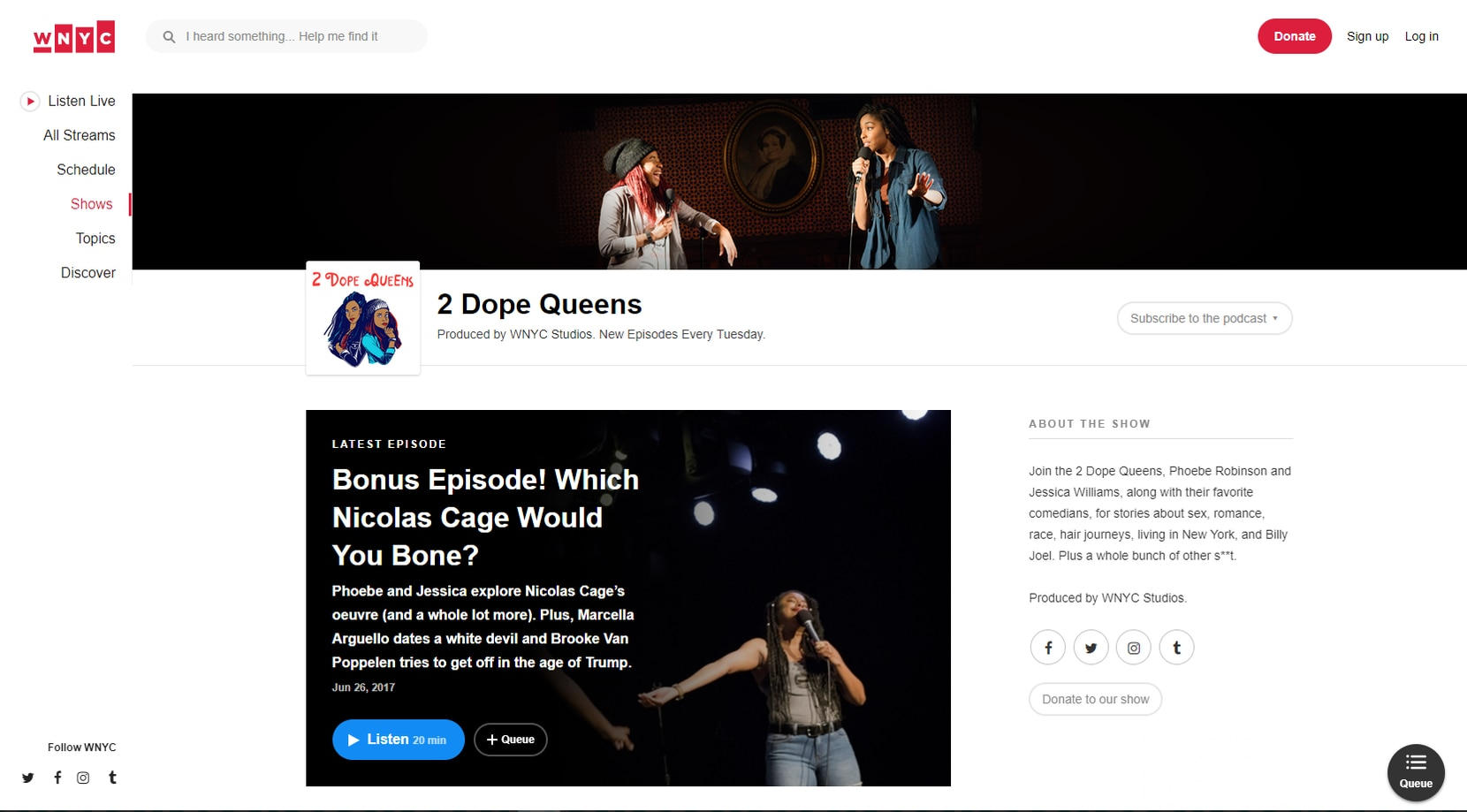 Two Dope Queens podcast website