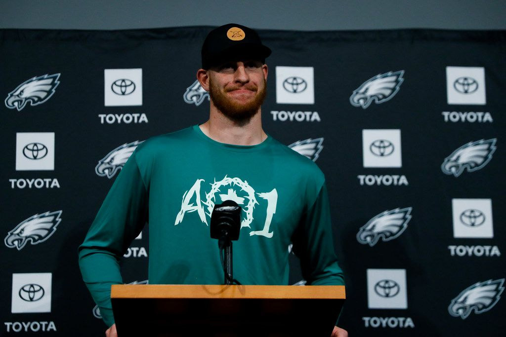 Philadelphia Eagles' Carson Wentz speaks during a news conference at the NFL football team's practice facility, Tuesday, May 21, 2019, in Philadelphia. (AP Photo/Matt Slocum)