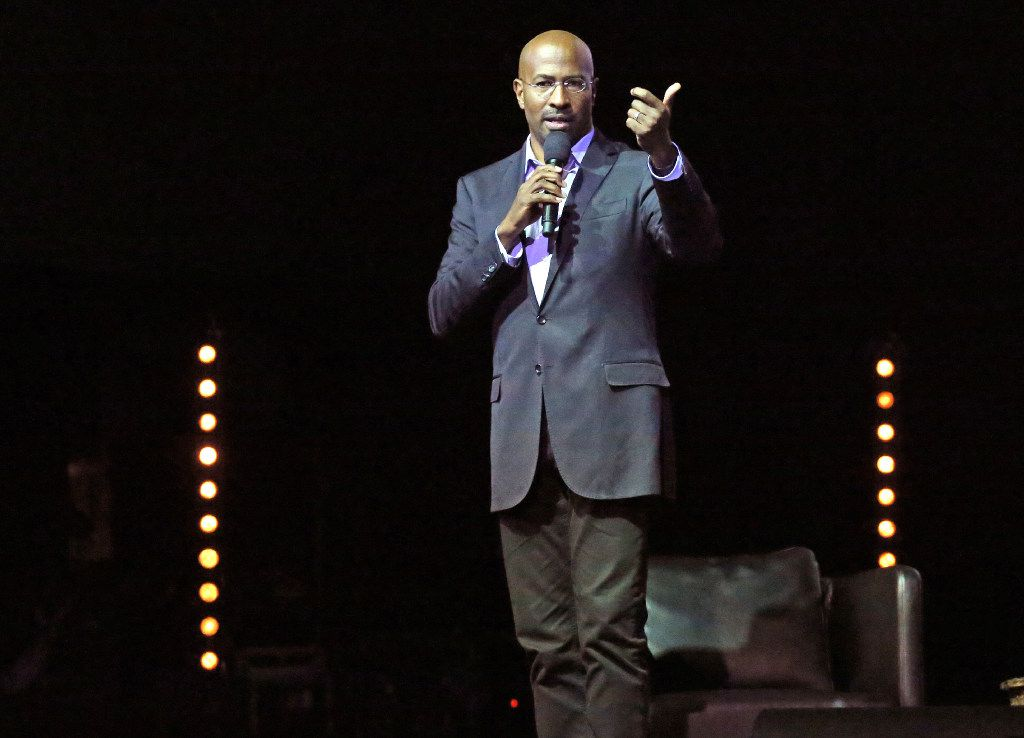 Van Jones talks with the audience during the We Rise Tour to fight hatred and racism, in a performance at the House of Blues in Dallas, photographed on Friday, August 18, 2017. (Louis DeLuca/The Dallas Morning News)