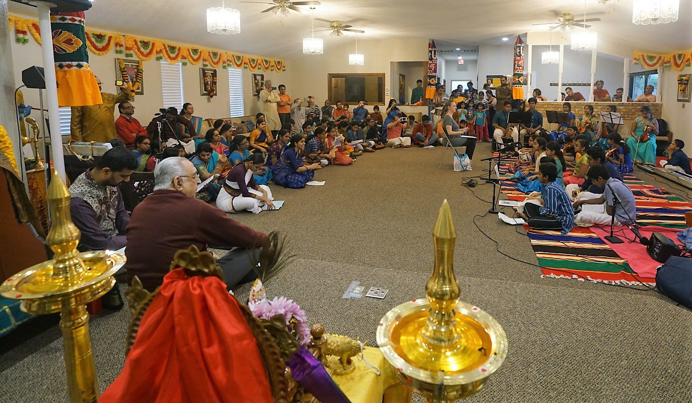 A chanting session at the opening of Dallas Namadwaar in Garland.