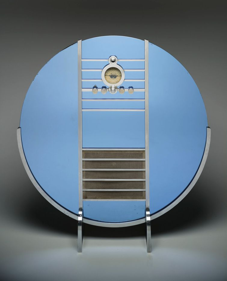 Walter Dorwin Teague, American, 1883 - 1960, designer Sparton Corp., American, founded 1900, manufacturer. Nocturne radio (Model 1186), designed circa 1935. Mirrored cobalt glass, satin chrome steel, and wood