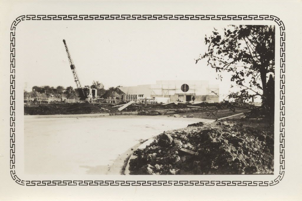 Construction of the Hall of Negro Life that no longer exists. The photographer, J. Elmore Hudson, was a draftsman for the U. S. Department of Agriculture and helped build and survey Fair Park from 1935 to 1937.