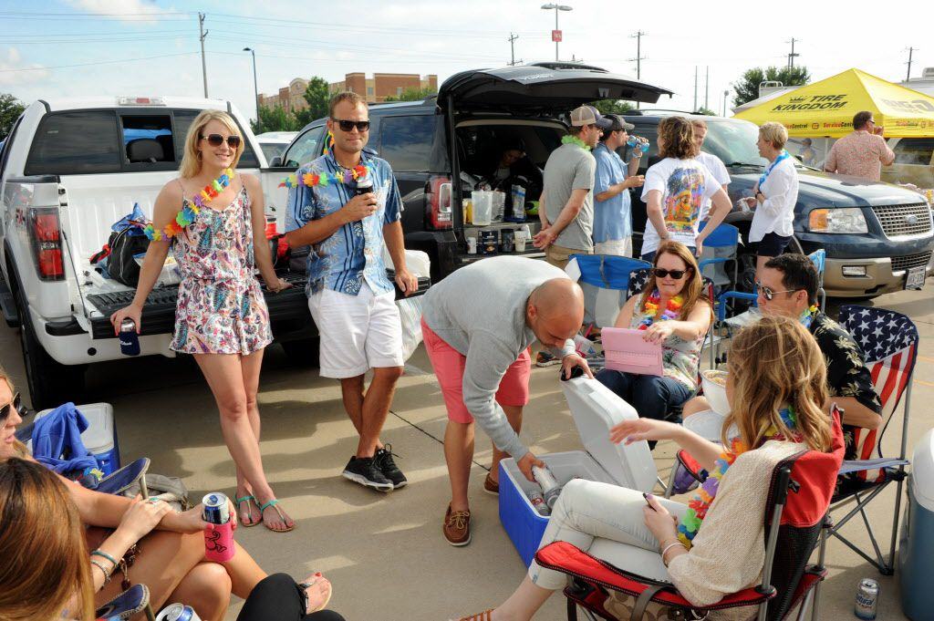 Parrotheads tailgate before the Jimmy Buffett concert at Toyota Stadium in Frisco, TX on May 30, 2015.