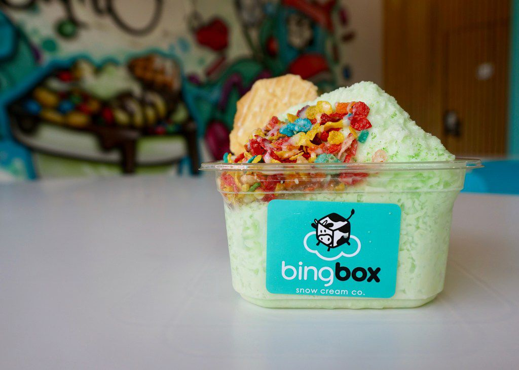 This green ice cream and Fruity Pebbles is actually honeydew, a popular flavor at BingBox.
