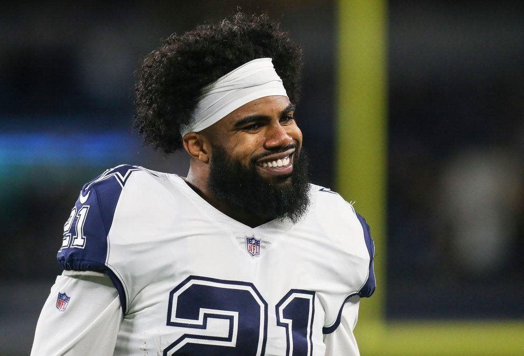 FILE - Cowboys running back Ezekiel Elliott (21) warms up ahead of a game against the New Orleans Saints on Thursday, Nov. 29, 2018, at AT&T Stadium in Arlington. (Ryan Michalesko/The Dallas Morning News)