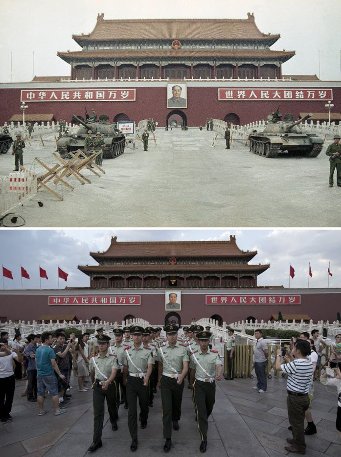 In this combination of photos, a June 10, 1989 file photo, top, shows Peoples Liberation Army (PLA) troops standing guard with tanks in front of Tiananmen Gate, and almost 25 years later, a May 28, 2014 photo, bottom, shows Chinese paramilitary policemen marching through to clear tourists from the area for a flag-lowering ceremony on Tiananmen Square in Beijing.