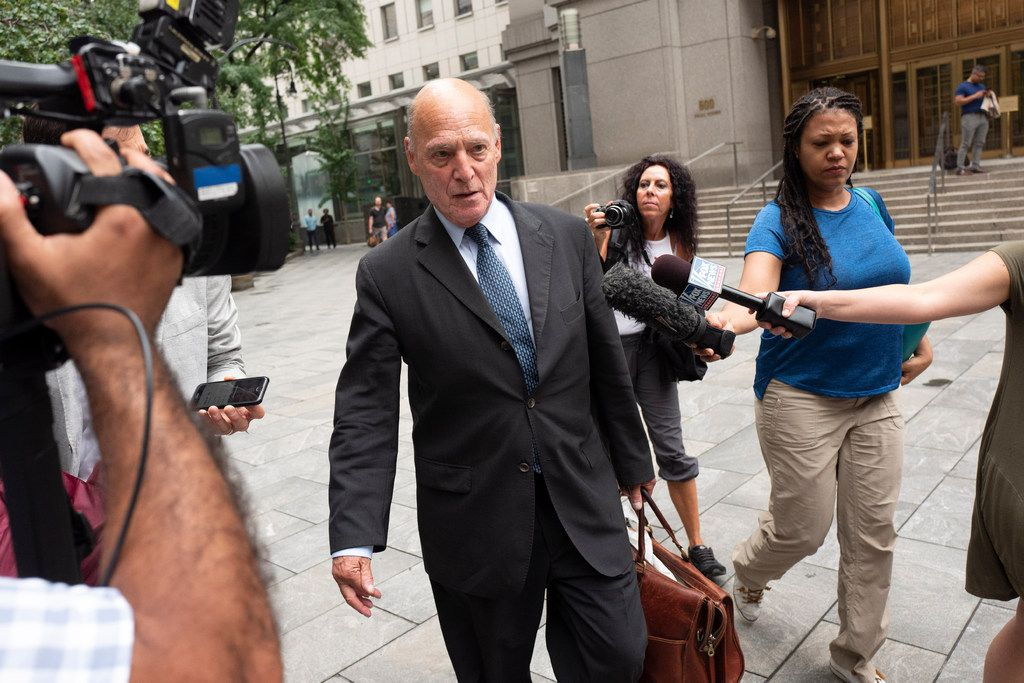 Martin Weinberg, a defense attorney for Jeffrey Epstein, leaves federal court in New York after a judge denied bail to his client, Thursday, July 18, 2019.